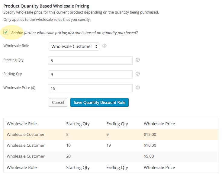 Quantity Based Discounts