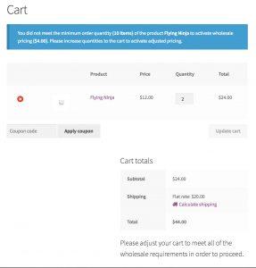 Cart warning if minimum orders are not met