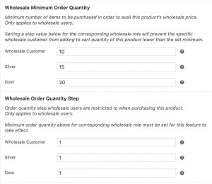 Wholesale Minimum Order Quantity & Wholesale Order Quantity Step Product Settings