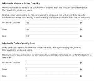 Wholesale Minimum Order Quantity & Wholesale Order Quantity Step Product Settings