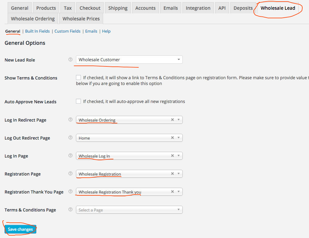 Set your lead capture pages in the settings