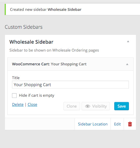 Add the WooCommerce Cart widget to the new sidebar