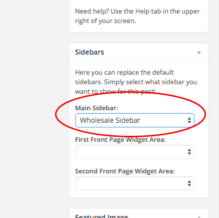 Select this sidebar on the edit screen for your Wholesale Ordering page