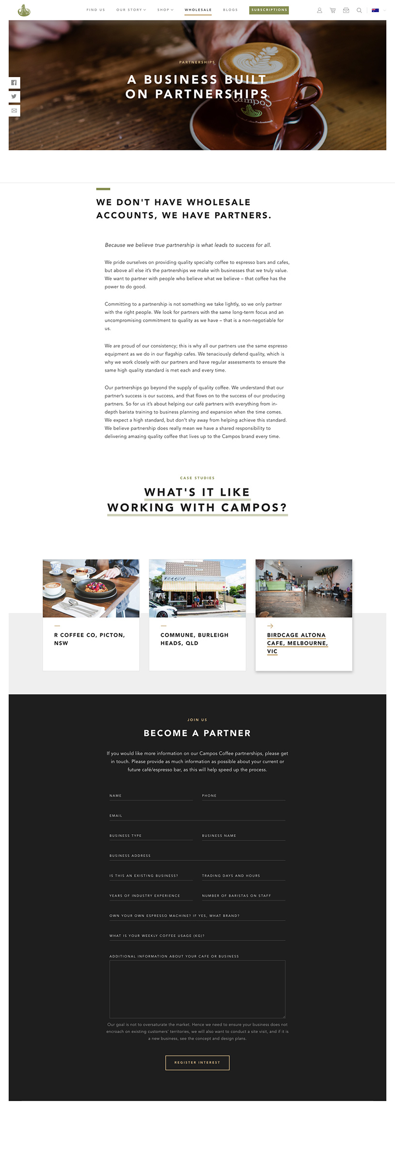Campos Coffee Wholesale Partner Page