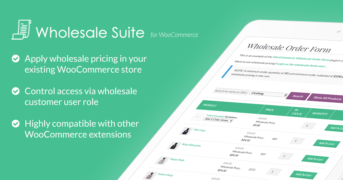 WooCommerce Wholesale Prices, Order Form & More - Wholesale