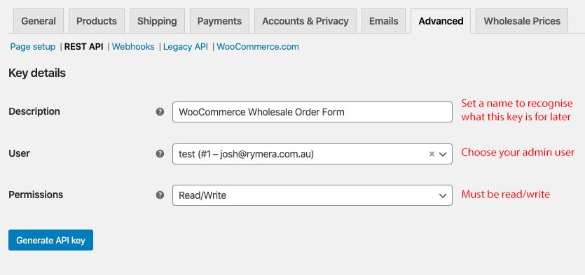 WooCommerce API Keys