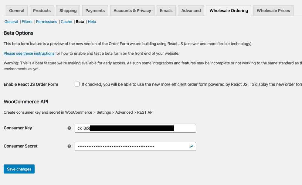 WooCommerce Wholesale Order Form API Keys