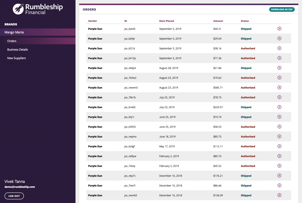 Rumbleship Financial Customer Dashboard