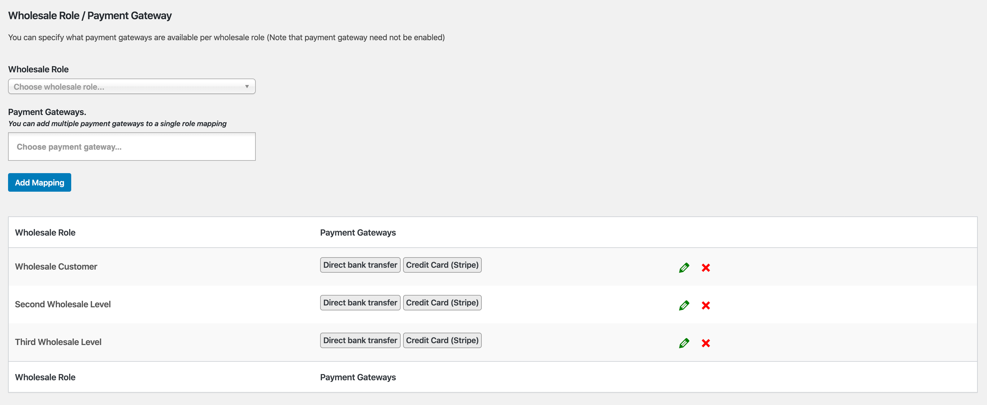 Wholesale Payment Gateway Mapping Per Role In WooCommerce