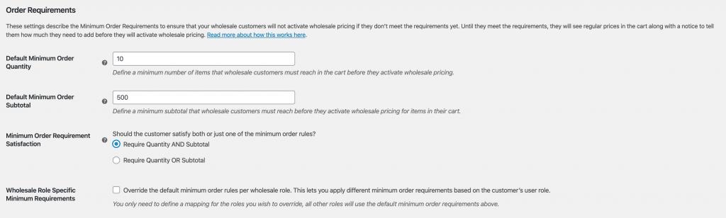 WooCommerce Wholesale Minimum Order Requirements
