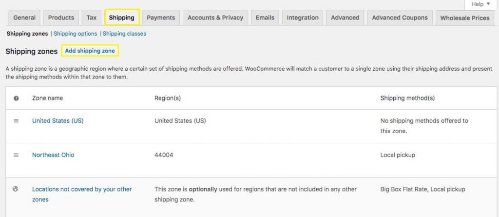 Adding a shipping zone to WooCommerce.