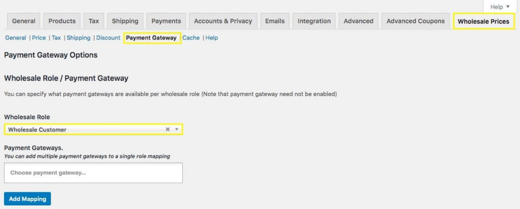 Creating role-based payment options with mapping settings in WooCommerce.