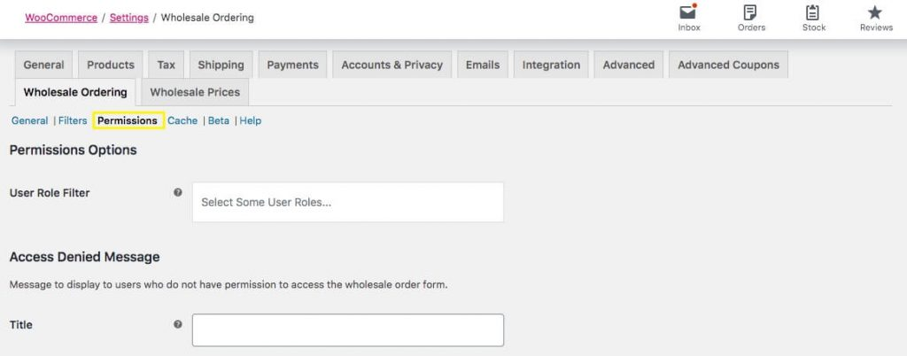 Setting permissions for access to the Wholesale Order Form.