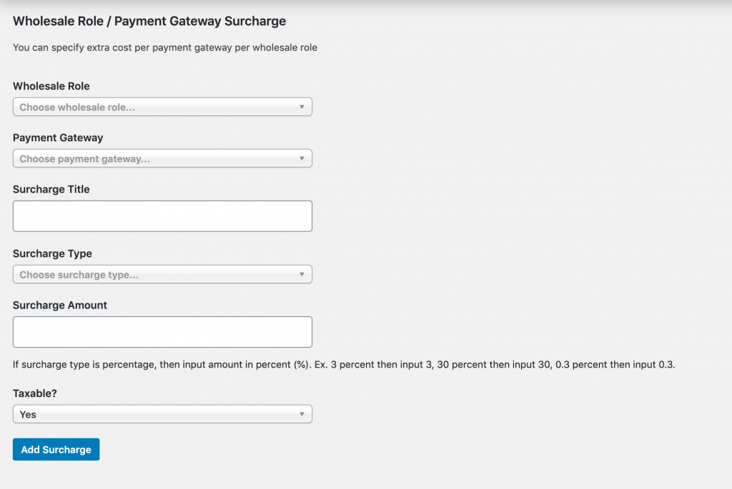 Adding surcharge fees in WooCommerce Wholesale Prices.