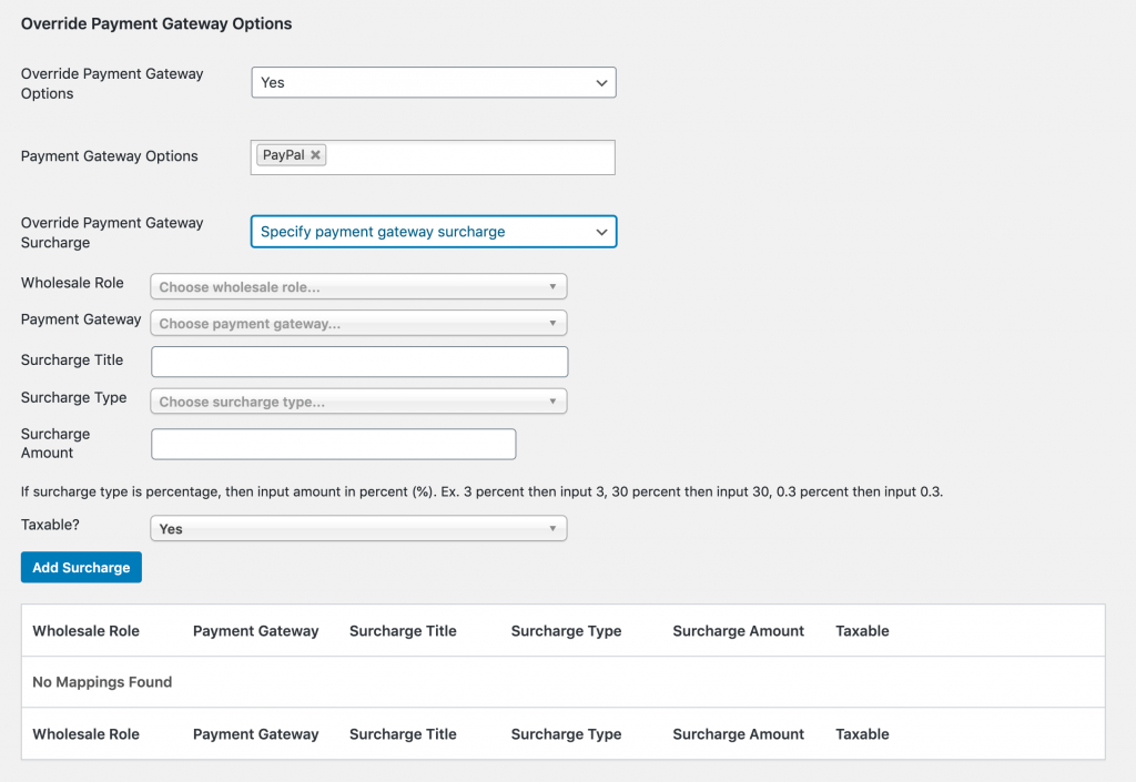 Creating a user-specific surcharge fee.