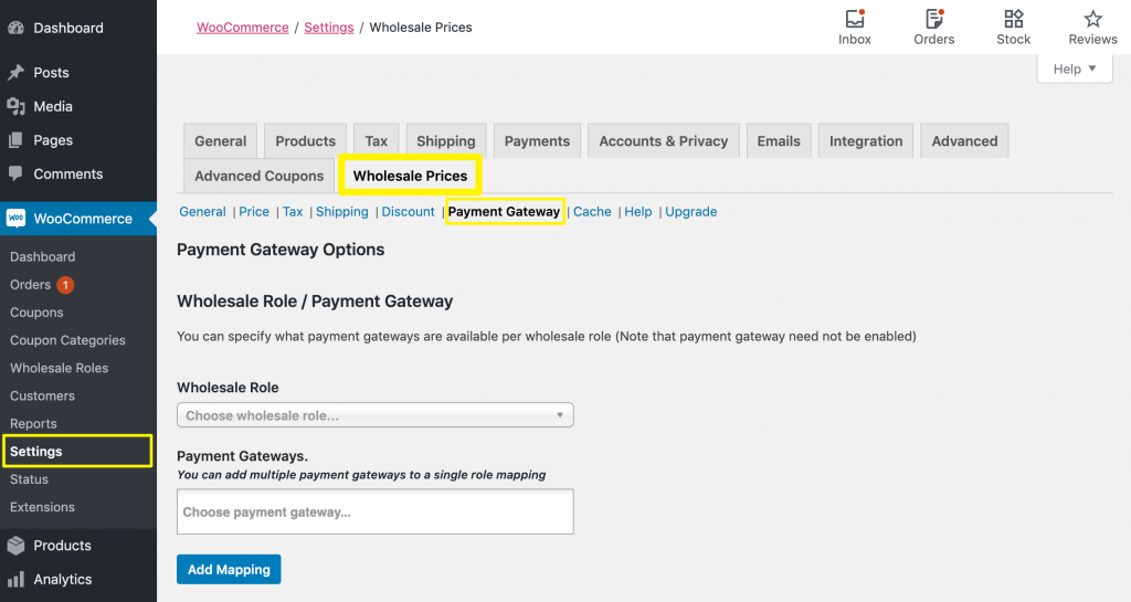 Accessing WooCommerce Wholesale Prices surcharge fees settings.
