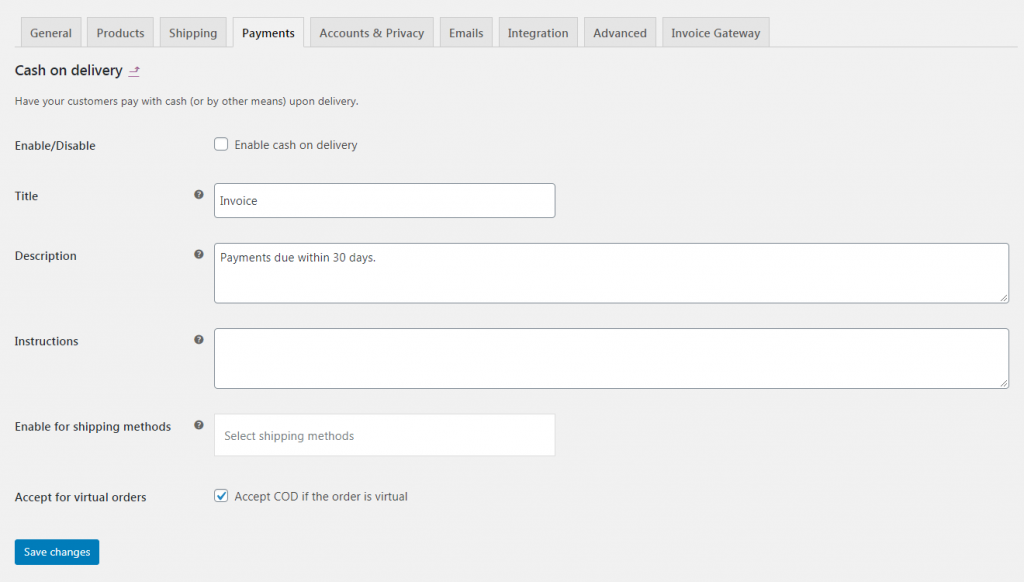 Modifying the Cash on Delivery payment gateway.