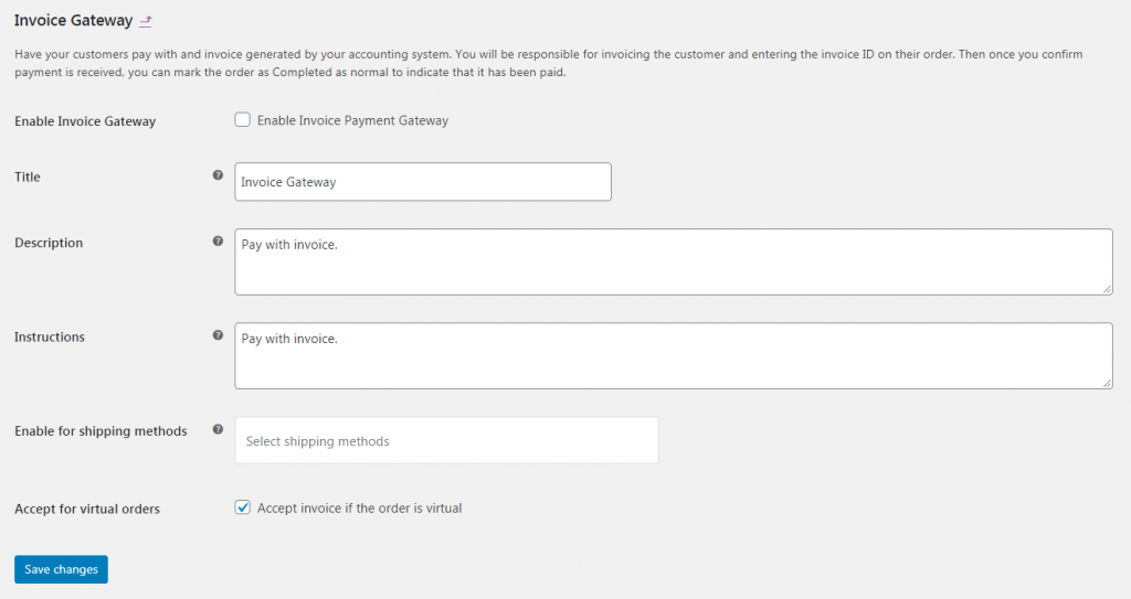 Settings for configuring your invoice gateway.