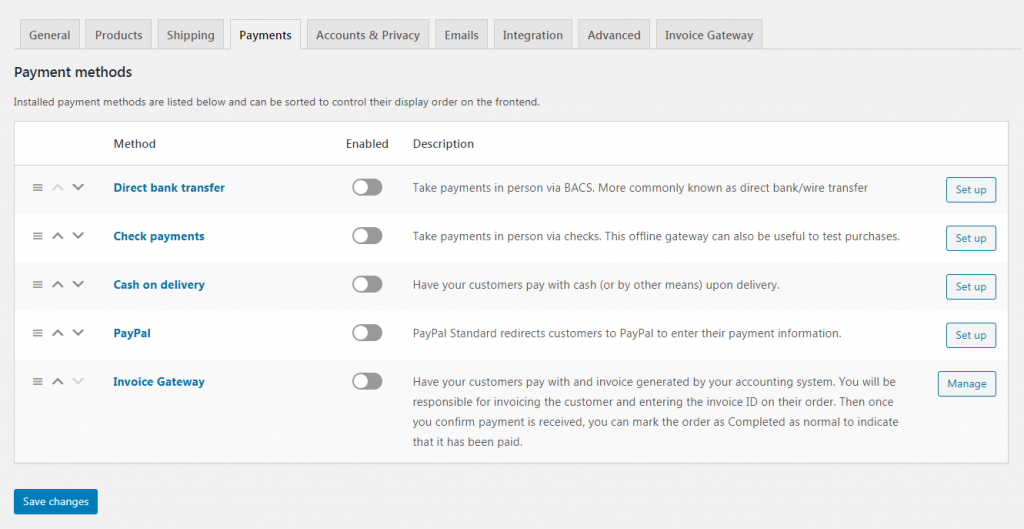 Payment gateways in WooCommerce.