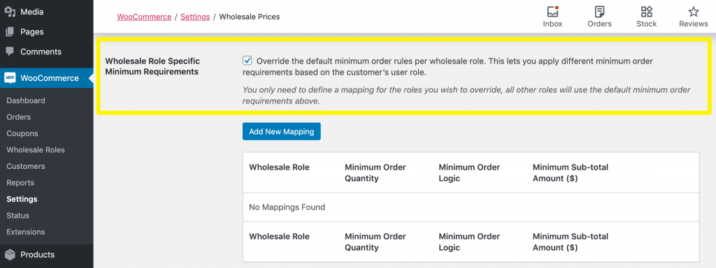 The wholesale role specific minimum requirements setting.