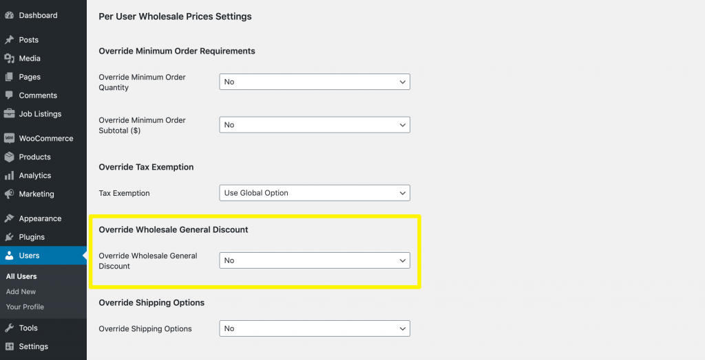 Wholesale General Discount settings for wholesale users in WooCommerce.